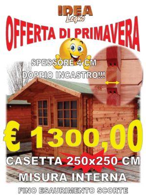 CASETTA IN LEGNO INCASTRO BLOCK HOUSE 250X250 CM SPESSORE 40 MM – COMACCHIO – FERRARA – IDEA LEGNO SRL