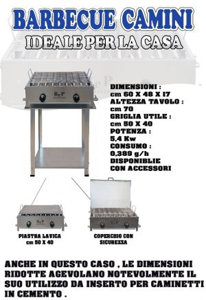 BARBECUE IN ACCIAO INOX GAS GPL-ESTENSE GAS-FERRARA