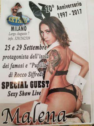 La super sexy Malena protagonista dell'isola dei famosi all' Extasia' di Milano