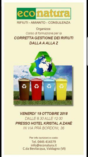 La corretta gestione dei rifiuti – Zane' – Vicenza