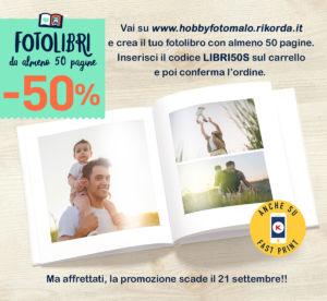 SCONTO 50% SU TUTTI I FOTOLIBRI, ANCHE DA TELEFONO, HOBBY FOTO MALO