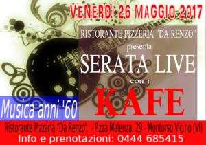 """Musica dal vivo Venerdi 26 maggio da Pizzeria Ristorante """"da Renzo"""" – Montorso Vic. – Vicenza"""